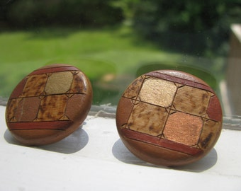 Natural geometric influence wood  discs clip earrings with gold and bronze enameling