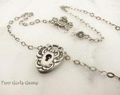 Victorian Padlock, Heart Padlock Necklace, Repousse Heart Pendant
