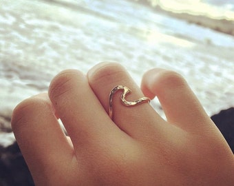 Gold Wave Ring, Hawaii Beach Jewelry, Surfer Girl, Girls Gift Idea, Hammered, Handmade Maui, Boho Fashion, Mermaid Accessory, Ocean Lover