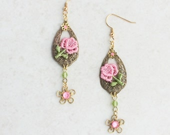 Pink Lace Flower Earrings, Flower Lace Applique Earrings