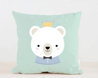 Nursery Boy Bear Pillow, Kids Pillow Cushion, Home decor, Children Room Decor, Baby room deocr