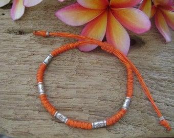 Waxed Cord Adjustable Silver Beaded Bracelet (7)