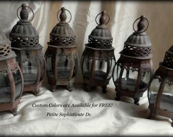 "Set of 6 Rustic Bubble Lanterns-Indoor/Outdoor,Wedding Lantern,Custom Colors are Free! 13.5"" Tall-Patio Decor"