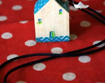Wooden house pendant