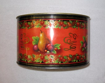 Large Autumn, Harvest Fruit Lidded Tin / Vintage Kitchen Storage Container / Gift Giving / Thanksgiving Decor / 10.5 x 6 3/8""