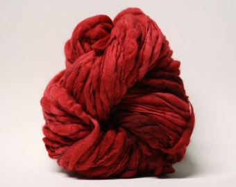 Handspun Thick and Thin Superfine Merino Wool Yarn Slub  tts(tm) Hand dyed Half-Pounder Super Bulky Red 01