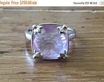 SALE Rose Quartz Sterling Silver Ring - Silver Gemstone Ring - Square Rose Quartz - Rose Quartz Jewelry