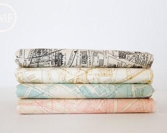 Passport Paris Map Half Yard Bundle, 4 Pieces, 3 Sisters, Moda Fabrics, 100% Cotton Fabric, 3736