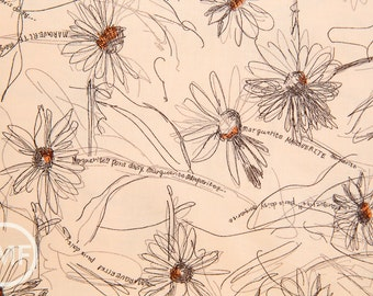 Suzuko Koseki Small Marguerite Daisy in Apricot, Yuwa Fabric, SZ826012H, 100% Cotton Japanese Fabric