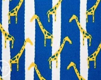 Zoo Candy Giraffe Jail in Yellow and Blue, Hokkoh Fabrics, 100% Cotton Basket Weave Fabric, 71-210-3E