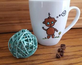 Happy Metallic Robot Mug, 12 oz Ceramic Mug, Hand Painted