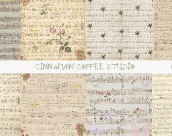 Antique Music Sheets Digital Papers, Retro Music Digital textures, Retro Notes Papers,Vintage Music Textures