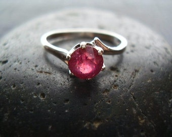 Genuine Ruby Faceted Round Cut Solitaire Engagement Ring, Solid 925 Sterling Silver Ring, July Birthstone, Gifts For Her, Anniversary Gift