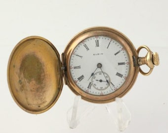 AS IS Elgin Antique 1915 Hunter Pocket Watch Runs Inconsistenly 7J Gold Filled R4485