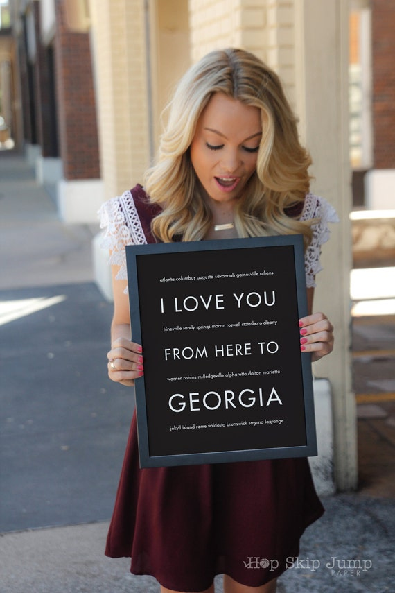 Georgia State Poster, I Love You From Here To GEORGIA, Shown in Black Travel, Free U.S. Shipping