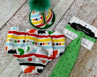 First Birthday Dinosaur Party Hat,  Necktie & Diaper in Multi Dinosaur with Green Tie
