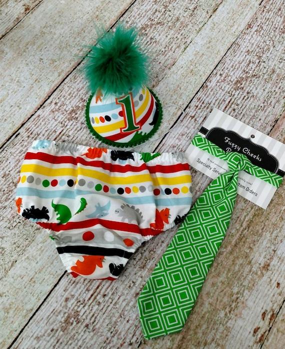 First Birthday Dinosaur Party Hat,  Necktie & Diaper in Multi Dinosaur with Green Tie