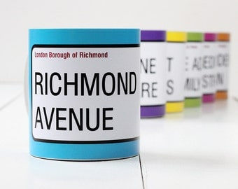 Personalised London Street Sign Mugs and Cups