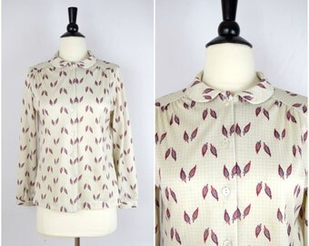 Vintage feather print grid plaid blouse / retro shirt