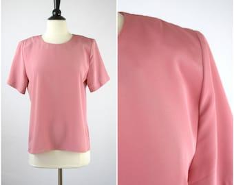 Vintage rose pink silky top / boho blouse