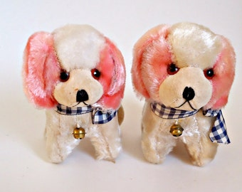 2 Vintage Novelty Dogs Straw Fill Mohair 1940's