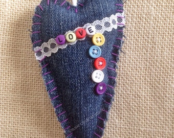 Hand Stitched Heart Ornament/Decor: recycled denim, vintage lace, colorful alphabet beads. LOVE. Susie Carranza Studio.