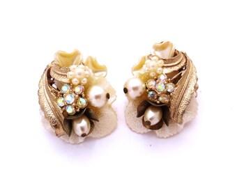 Vintage Earrings, Miriam Haskell Style, Pearl Rhinestone Earrings, AB Rhinestones, Vintage Bride, Flower Earrings, 1950s Jewelry