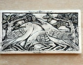 Three crows 5x9 inch tile handmade porcelain tile in blavk wash for wall hanging or installation