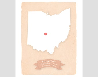 OHIO - Personalized art print Home decor - Custom text Wedding gift Bridal shower gift Housewarming gift  Larger size for wedding guest book