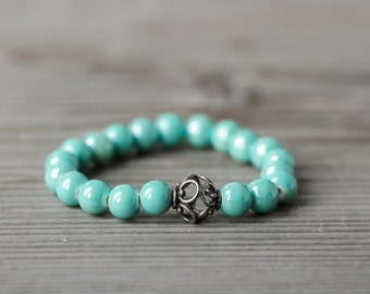 Summer Bracelet, Blue Bracelet, Minimalist Bracelet, Summer Jewelry, Teal Blue, Summer Fashion, Budget Jewelry, Gift For Friend, Ceramic