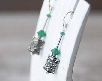 Opal Green Earrings, Dangle Fall Earrings, Crystal Earrings, Long Earrings, Autumn Jewelry, Gift for Mother, Everyday Earrings