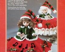 "20%OFF Fibre Fiber Craft CHRISTMAS CAROLER 13"" Music Box or 10"" Pillow Doll  - Crochet Doll Clothes Clothing Pattern"