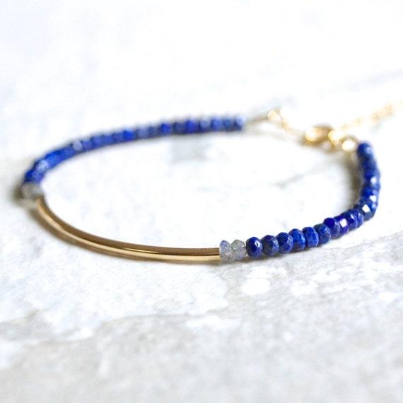 Lapis lazuli & tube bar beaded bracelet / 14k gold filled