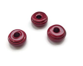 Red Round Ceramic Beads, Mykonos Ceramic Beads,  Greek Ceramic Beads Glazed Beads Enamel Ceramic C 10 417