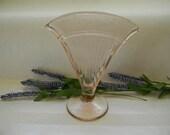 VASE, Pink Depression Fan Vase