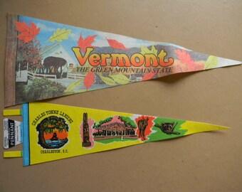 Pennants, (2) Souvenir Vacation Pennants, Vermont, South Carolina