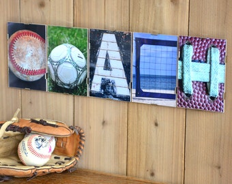 COACH  Alphabet Photography Sports Themed Word Plate (framed)