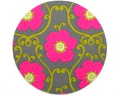 Mouse Pad - Round Fabric mousepad - Floral in pink, grey and green - Home office / computer / Electronic