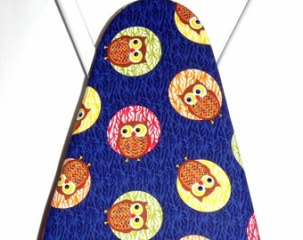 Ironing Board Cover - Owls in red, yellow, orange and green fabric - Laundry and Housewares