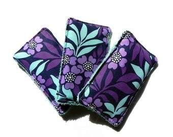 Unsponges - Set of 3 Kitchen, Shower or Bath reusable eco friendly sponges - Flowers in purple and blue