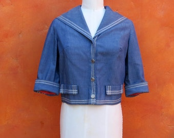 Vintage 1950s 1960s Cropped Blue Nautical Sailor Collar Women's Coat Jacket Blazer. Rockabilly coat. Fred Rothschild.