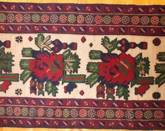 "Hand Knotted and Woven Tribal Rug, Soumack Runner with RED ROSES, From Afghanistan, 2'2""x9'8"", Vintage Balouchi"