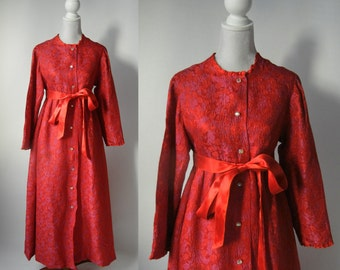 Vintage Robe, Vintage Housecoat, Women's Vintage Robe, Red Vintage Robe, 1960s Housecoat, Retro Loungewear, 60s Red Housecoat, 60s Red Robe