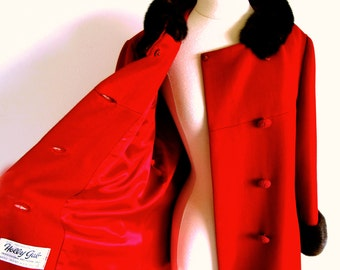 Vintage 60s Mink Collar Coat, Red Wool Coat, Mod Double Breasted Coat, Jackie O style