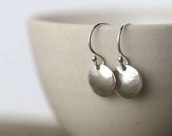 Silver Earrings Dangle Handmade - Gift for Women - Hammered Round Disc Earrings - Sterling Silver Earrings - Silver Jewelry