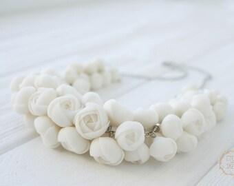 White Ranunculus Bib Necklace Polymer Clay Handmade Statement Necklace Fashion Designer Jewelry Wedding Bridal Birthday Valentines Gifts