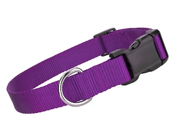 Deluxe Purple Nylon Collar - Nylon Dog Collar - Purple Pet Collar - Adjustable Dog Collar - Nylon Purple Dog Collar