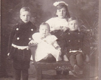 Old Photograph Young Siblings 1800s Vintage Photo Paper Ephemera Snapshot Photo Collectibles