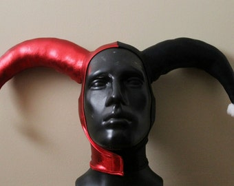 MADE TO ORDER Version 1: Harley Quinn Inspired Metallic Red and Black Stretch Jester Hat One Size
