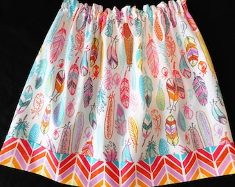 Aztec girl, toddler, baby, tween, orange, aqua  blue, yellow, red chevron, purple, navy feather skirt with arrow rainbow border NB - 16
